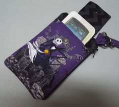 Womens Wristlet Wallet or Small Bag with Smart Phone Pocket Nightmare Before Christmas by AlwaysALittleBehind on Etsy