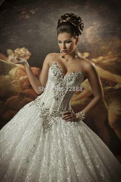 IN Inventory On Sale V-neckline Ivory Organza Backless Ball Robe Bridal Wedding Costume 2013 True - Fashionmasher.com
