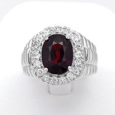 jents Jewelry Good Item Gift for Girlfriend Bohemian 925 Sterling Silver Red Garnet Lucky Gemstone Ring Lucky Gemstone Round Faceted Garnet Ring