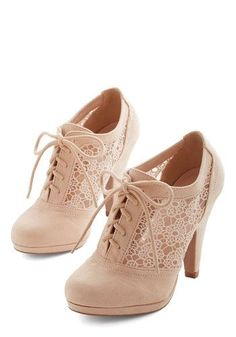Numerous Occasions Heel in Cream - High, Faux Leather, Solid, Wedding, Party, Holiday Party, Menswear Inspired, Vintage Inspired, 20s, Good, Lace Up, Cream, Floral, Crochet, Cutout, Darling, Sheer, Lace, Variation Lace Heels, Lace Booties, Lace Up Shoes, Cute Shoes, Lace Up Heel Boots, Heeled Boots, Cream Pumps, Cream High Heels, Cream Shoes