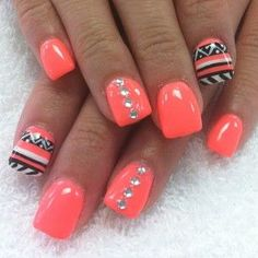 Beautiful Photo Nail Art: 35 Neon orange nail art design