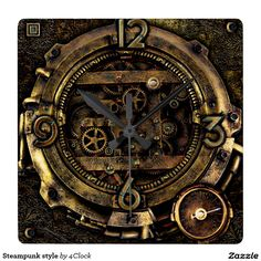 steampunk style square wall clock