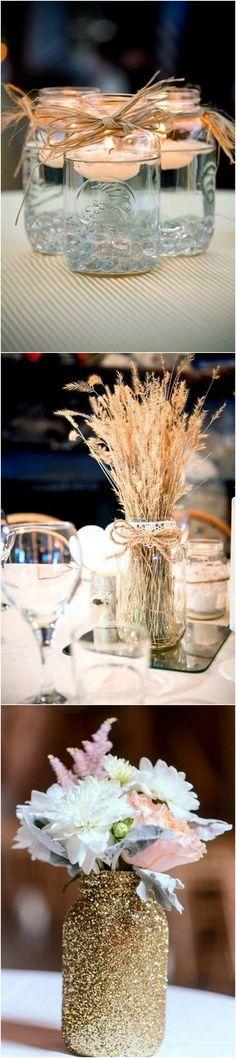 Mason Jars Wedding Centerpieces #weddingideas #wedding #weddingcenterpieces #weddingdecorations