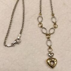 "10kt gold Sterling Silver necklace..NWOT Beautiful..marked measures 9 1/4"" drop Gold..sterling Jewelry Necklaces"