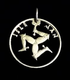 Isle of Man cut the coin pendant silver color
