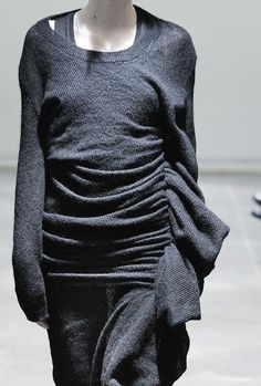 Knitted dress with soft drape & gathers - fabric manipulation; fashion design detail; sewing; contemporary knitwear // Junya Watanabe
