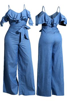 Buy Blue Sleeveless Jumpsuit For This Summer Latest African Fashion Dresses, African Dresses For Women, African Attire, African Wear, Classy Outfits, Stylish Outfits, Denim Fashion, Fashion Outfits, Jumpsuits For Women