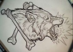 Wolf tattoo design.