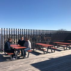 This is our PICNIC table-bench-combo at the rooftop of a school in Frederiksberg, Denmark. The goal was to create an environment that can be used for both teaching and as a part of the school's afternoon activities. PICNIC can be left outside all year round, is all weather proof and sturdy enough to withstand the winds on a rooftop.⠀ ⠀ ⠀ ⠀ #miramondo #picnic #schoollife #rooftop⠀ ⠀ ⠀ #schoolfurniture #urbanfurniture #outdoorfurniture #exteriordesign #interiordesign #archiproduct… School Furniture, Urban Furniture, Furniture Design, Outdoor Furniture, Picnic Table Bench, All Year Round, School Life, Rooftop, Exterior Design