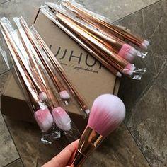 ABC 12PCS Make Up Foundation Eyebrow Eyeliner Blush Cosmetic Concealer Brushes (Rose Gold)