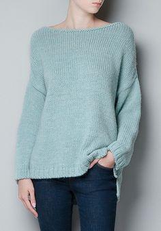 Green Plain Round Neck Wool Blend Sweater