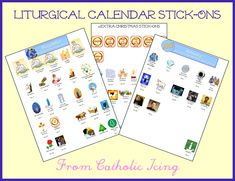 Liturgical calendar stick-ons for December and January feast days! Fun for Catholic kids, plus and extra page of Christmas stick-ons. :-)