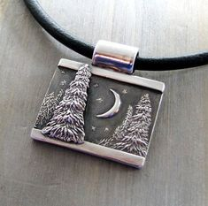 Evening Pines, Personalized Fine Silver Dimensional Pendant, Handmade in…