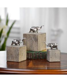 Uttermost Tiberia Elephant Sculpture, Set of 3 Product Details: - Designer: David Frisch - Collection: Tiberia - UPC: 792977200964 - Finish: Tarnished Silver Material: Concrete, Resin Dimensions (in): x x Weight (lbs): 8 Cement Art, Concrete Cement, Concrete Crafts, Concrete Projects, Concrete Design, Barn Wood Picture Frames, Elephant Sculpture, Beton Diy, Indoor Outdoor Furniture