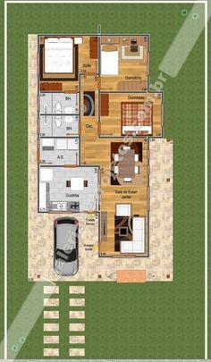 Cód.008 - Projeto Casa Térrea - 2 Quartos e 1 Suíte - Galeria de Projetos…