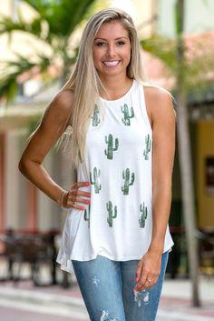 White Cactus Print Tank Top Shop Simply Me Boutique Shop SMB – Simply Me Boutique