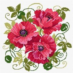 Needlepoint Glorious Poppies - Lesley Teare Needlework and Cross Stitch Chart Design Embroidery Patterns Free, Crewel Embroidery, Ribbon Embroidery, Cross Stitch Embroidery, Embroidery Designs, Cross Stitch Charts, Cross Stitch Patterns, Cross Stitch Supplies, Cross Stitch Flowers