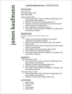 Resume Template Free Download In Word 12 Resume Templates For Microsoft Word Free Download  Pinterest .