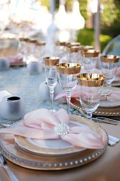elegant pale pink and gold wedding decor Bronze Wedding, Pink And Gold Wedding, Lace Wedding, Wedding Flowers, Dream Wedding, Wedding Dresses, Party Decoration, Wedding Decorations, Table Decorations
