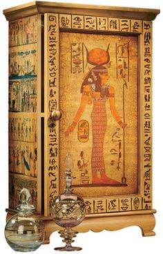The Goddess Hathor Wooden Curio Cabinet