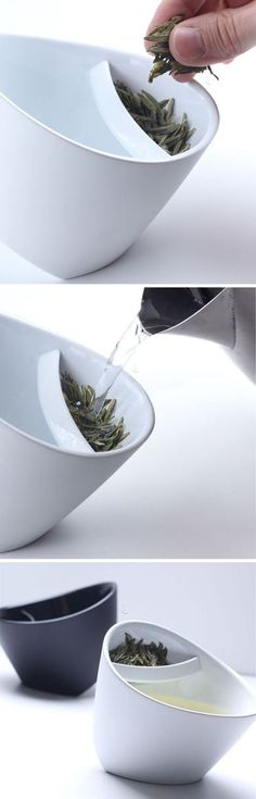 Tipping teacup // infuses and strains - just put tea leaves in the cup and steep, when tea is done, tip to the other side to drink! Clever! #product_design #industrial_design---------------------------------------- 차를 우려낼때 주전자를 사용할 때는 찻잎이 주전자에 끼는 경우가 많고, 준비하고 치울때도 손이 많이가지만 이 제품을 사용하면 찻잎이 낄 걱정도 안하고 준비하는 번거롭지 않아서 좋다. 하지만 차를 마실때 찻잎이 떨어질 걱정이 있을꺼 같다