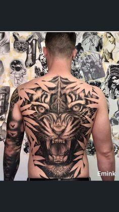 Line Art Tattoos, Tatoos, Lion Images, Back Tattoos For Guys, Tiger Art, Samurai Tattoo, Cover Tattoo, Animal Tattoos, Big Cats