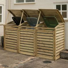With a superb guarantee, the pressure treated Triple Bin Store holds 3 wheelie bins. Visit us online today for free delivery* on bin storage & garden storage. Triple Wheelie Bin Storage, Garbage Can Storage, Garbage Shed, Shed Storage, Storage Bins, Storage Ideas, Bike Storage, Wooden Storage Buildings, Triple Bin Store