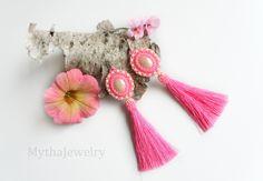Beaded tassel earrings, beaded pink earrings, pink earrings, earrings with tassel, boho earrings, tassel jewelry, pink jewelry by MythaJewelry on Etsy