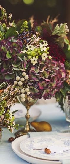Plum floral arrangement for an Autumn table Fall Flower Arrangements, Floral Centerpieces, Wedding Centerpieces, Wedding Decorations, Centrepieces, Autumn Centerpieces, Deco Floral, Arte Floral, Floral Design