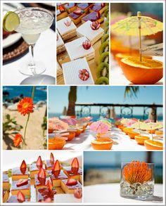 Simple layout.  tropical beach wedding ideas love the weird flower in the vase
