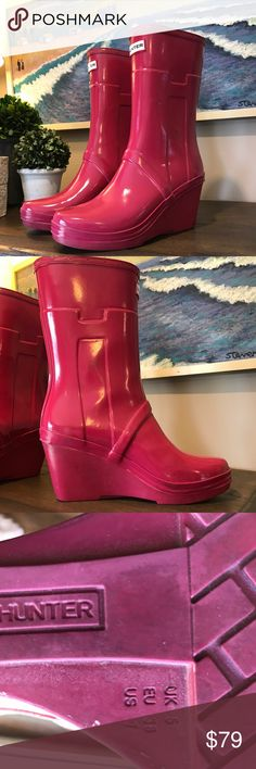 Hunter Chelsea Wedge Heel Rain Boots, size 7 In good condition with a few scuffs, but still darling.  Size is 7 Hunter Boots Shoes Winter & Rain Boots