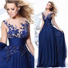 13386b3289 US  33.50 - LE7302 Blue lace floral arrangements perspective halter Dress. Prom  PartyParty ...