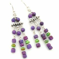 Four Corners USA Online American Artisan Jewelry - Mohave Purple and Green Kingman Turquoise Chandelier Sterling Silver Beaded Earrings, $24.00 (http://stores.fourcornersusaonline.com/mohave-purple-and-green-kingman-turquoise-chandelier-sterling-silver-beaded-earrings/)