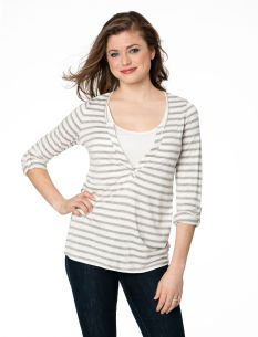 3/4 Sleeve Pull Over Double Opening Tab Cuff Nursing Top