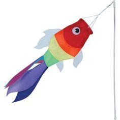 "$10.99 WINDSOCK--19"" Rainbow Fish Windsock with Plastic Wand"