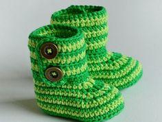 Striped Baby Booties FREE Crochet Pattern