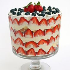 Memorial Day is coming up and here is a trifle to remember those who lost their lives. Pound cake, cheesecake pudding, and fresh fruit.