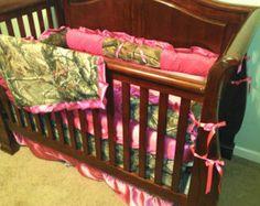 camo baby girl bedding | pc Baby Girl Camo and Pink Satin Ruffled Bedding Set with Blanket ...