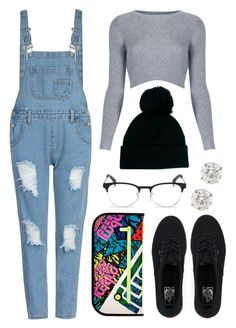 """Pom Pom Beanie"" by rqueen25 ❤ liked on Polyvore featuring Topshop, Marc by Marc Jacobs, ASOS, Ray-Ban and Vans"