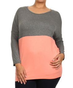 Look what I found on #zulily! Gray & Pink Color Block Tee - Plus #zulilyfinds