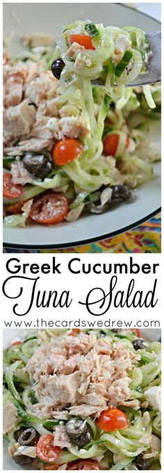Make this easy Greek Cucumber Tuna Salad for lunch or as a side dish with @BumbleBeeFoods tuna, fresh spiraled cucumber, and delicious veggies! AD OnlyAlbacore