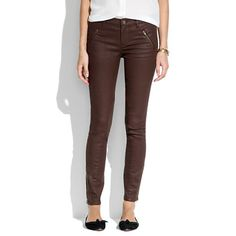 Skinny Skinny Ankle Coated Motorcycle Jeans in soft mahogany, size 27   Madewell