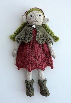 Knitted fairy doll by tausigma. Free pattern, Sally, the Eco Fairy by Jennie Eveleigh Lamond.