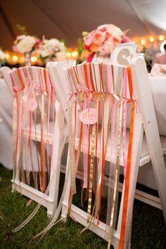 ribbon chairs   Katelyn James #wedding