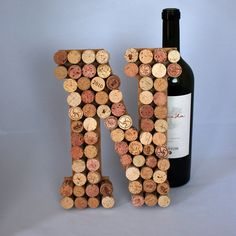 Letters are made from upcycled used corks, which means each letter is one of a kind. Along with red wine stains, corks may contain holes from wine Wine Cork Monogram, Wine Cork Letters, Wine Cork Art, Wine Cork Crafts, Diy Letters, Bottle Crafts, Wine Corks, Cork Wedding, Craft Wedding