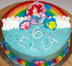 The Scrapbooking Housewife: Rainbow Ariel Birthday Party Cakes