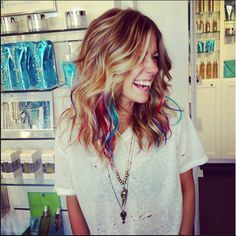 By Lea Journo. Fun pop of color and amazing waves from Lea Journo's Salon! @BLOOM.COM
