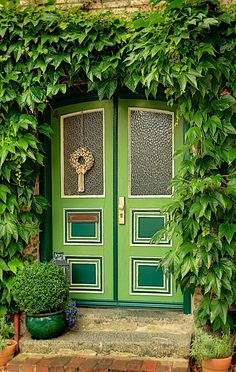 Green door Arnis, Schleswig-Holstein, Germany