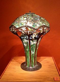 One of the rarest of all Tiffany Studios lamps -- Spider in the web, with mosaic base. Tiffany Studios collection of the Charles Hosmer Morse Museum, Winter Park, FL.