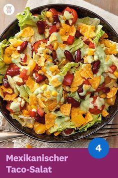 Taco Salat mit Avocado Dressing Rezept WW Deutschland - Der mexikanische Taco-Salat mit Avocado-Dressing SmartPoints) schmeckt genauso lecker wie er aus -Mexikanischer Taco Salat mit Avocado Dressing Rezept WW Deutschland - D. Ww Recipes, Mexican Food Recipes, Salad Recipes, Vegetarian Recipes, Dinner Recipes, Avocado Recipes, Italian Recipes, Avocado Dressing, Salades Taco